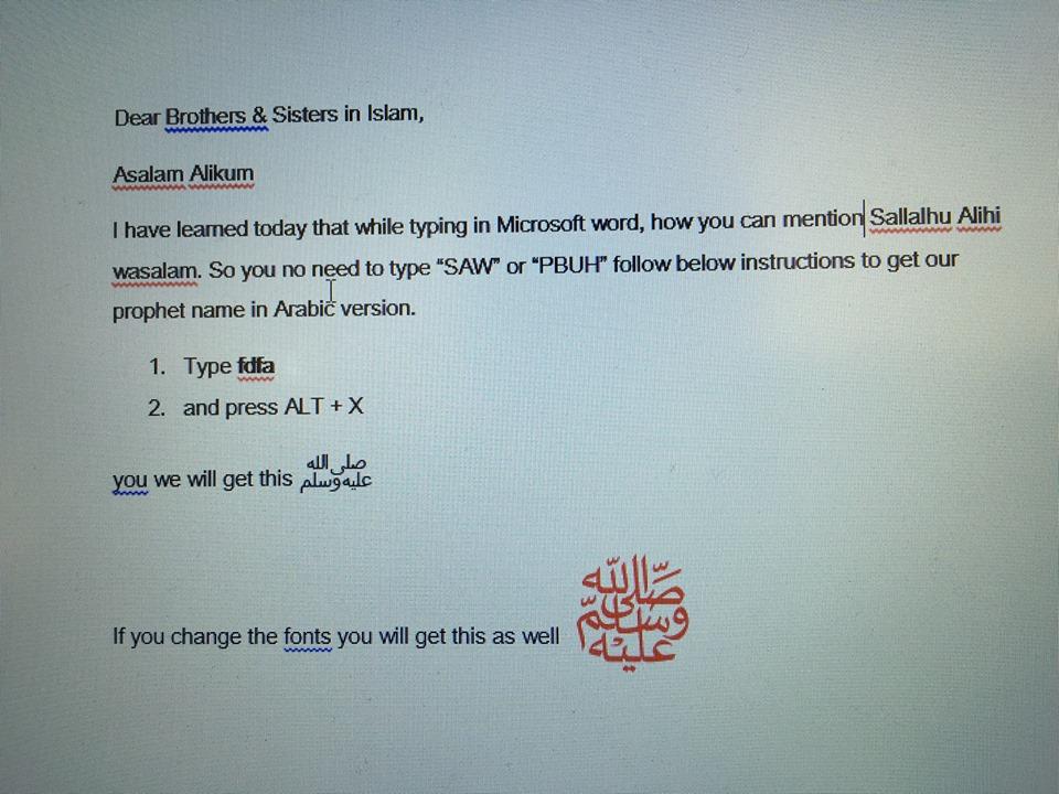 How to write صلی اللہ علیہ وسلم in microsoft